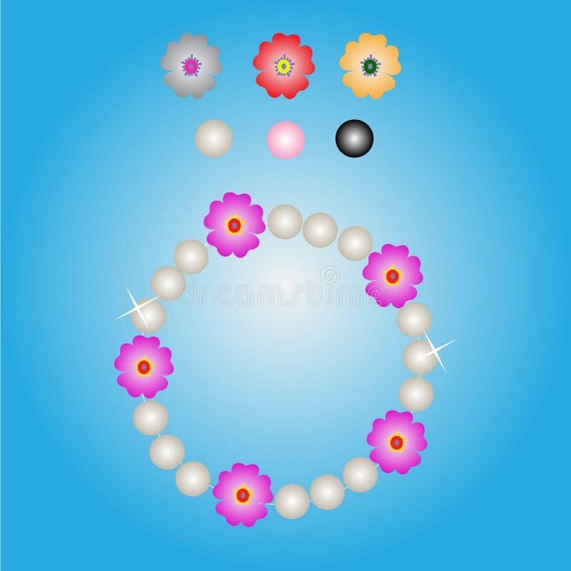 Bransoletki perły i kwiatu koloru projekt royalty ilustracja