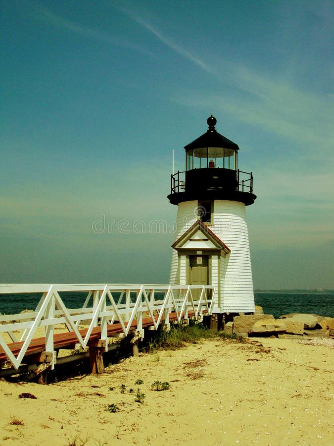 Brant Point Lighthouse in Nantucket Harbor, Nantucket, Massachusetts stock photography
