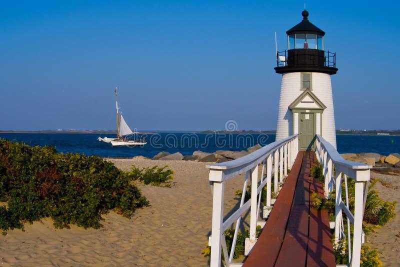 Brant Point Lighthouse sull'isola di Nantucket immagini stock libere da diritti