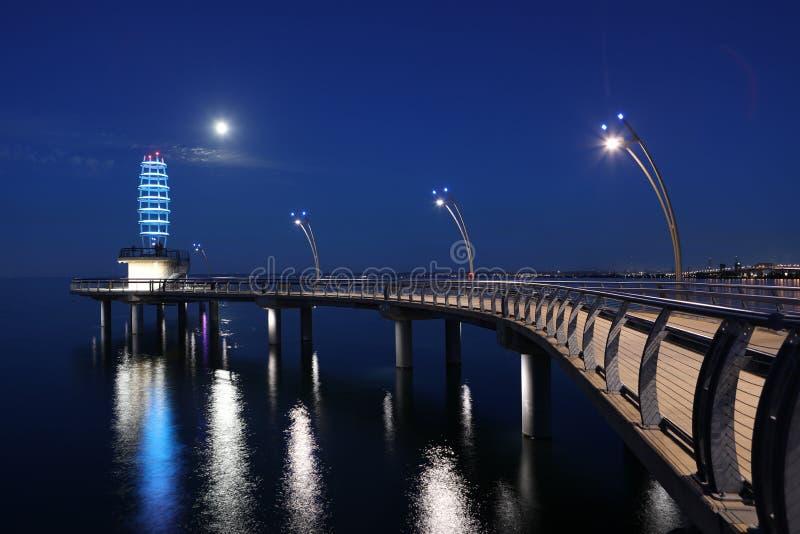 Brant St Pier in Burlington, Canada bij nacht stock foto's