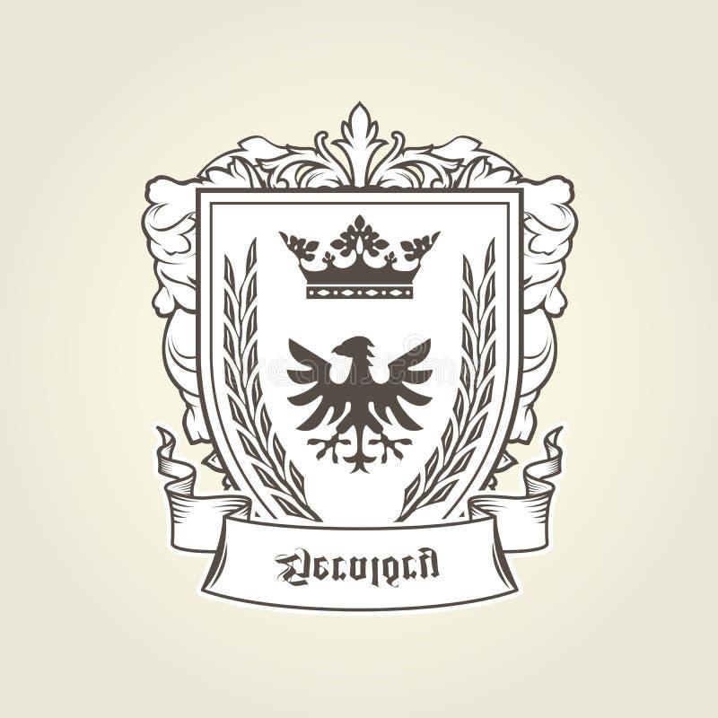 Brasão com a águia heráldica no protetor, emblema ilustração do vetor