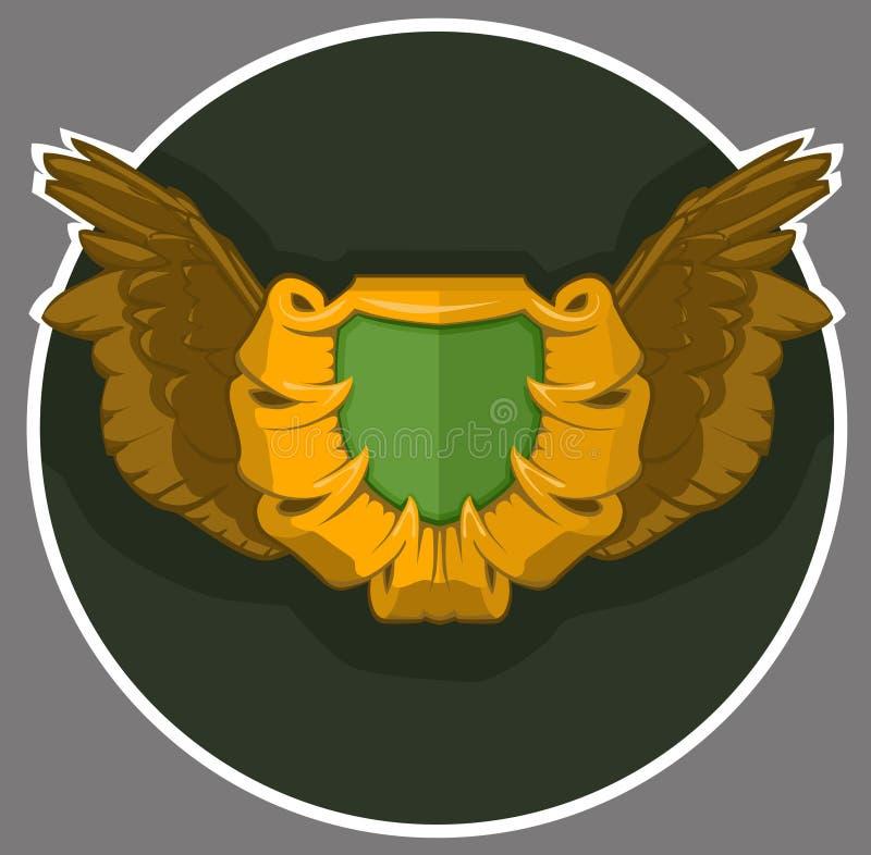 Brasão com as asas Rolamento ou protetor heráldico do simbol para uma pessoa, uma família ou um corporaçõ fotos de stock