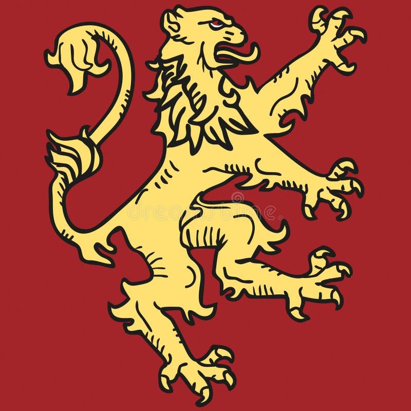 Brasão com o leão ilustração do vetor