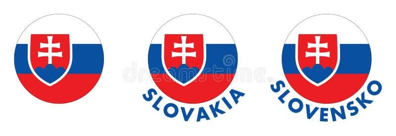 Brasão de Eslováquia no círculo A versão com nome do país seja ilustração stock