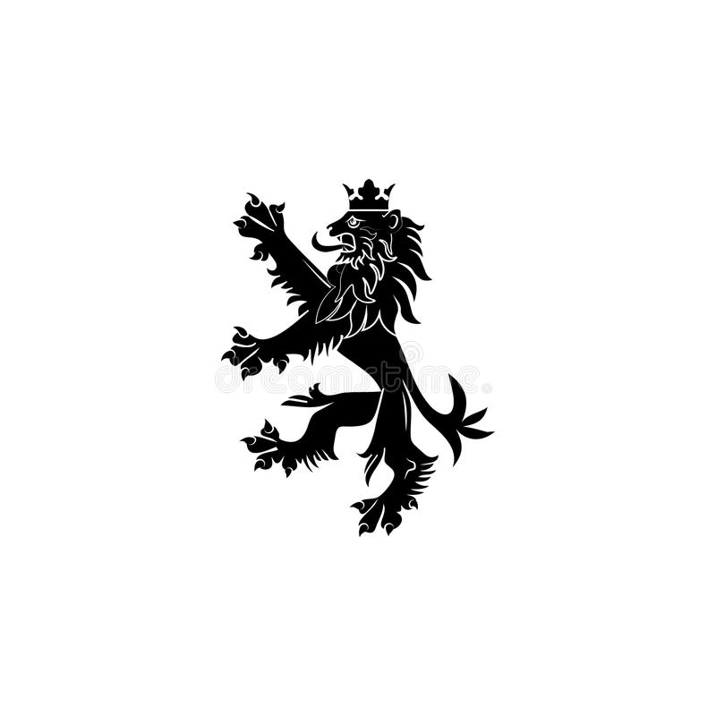 Brasão de Inglaterra Leão orgulhoso ereto ilustração royalty free