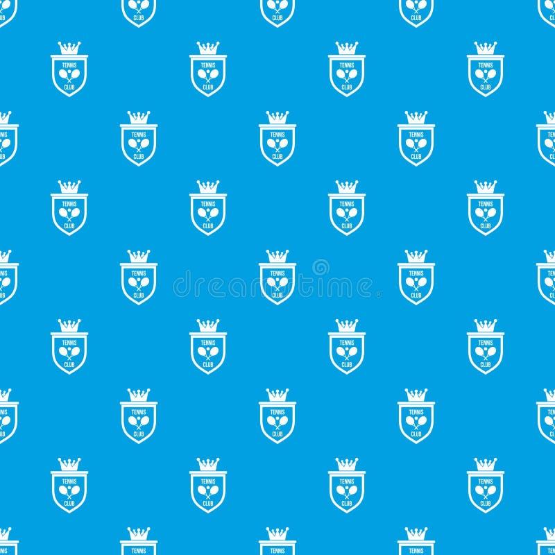 Brasão do azul sem emenda do teste padrão do clube de tênis ilustração do vetor