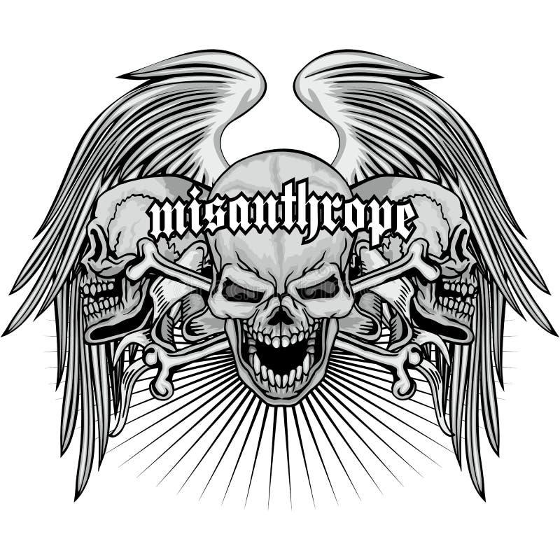 brasão do crânio do grunge ilustração royalty free