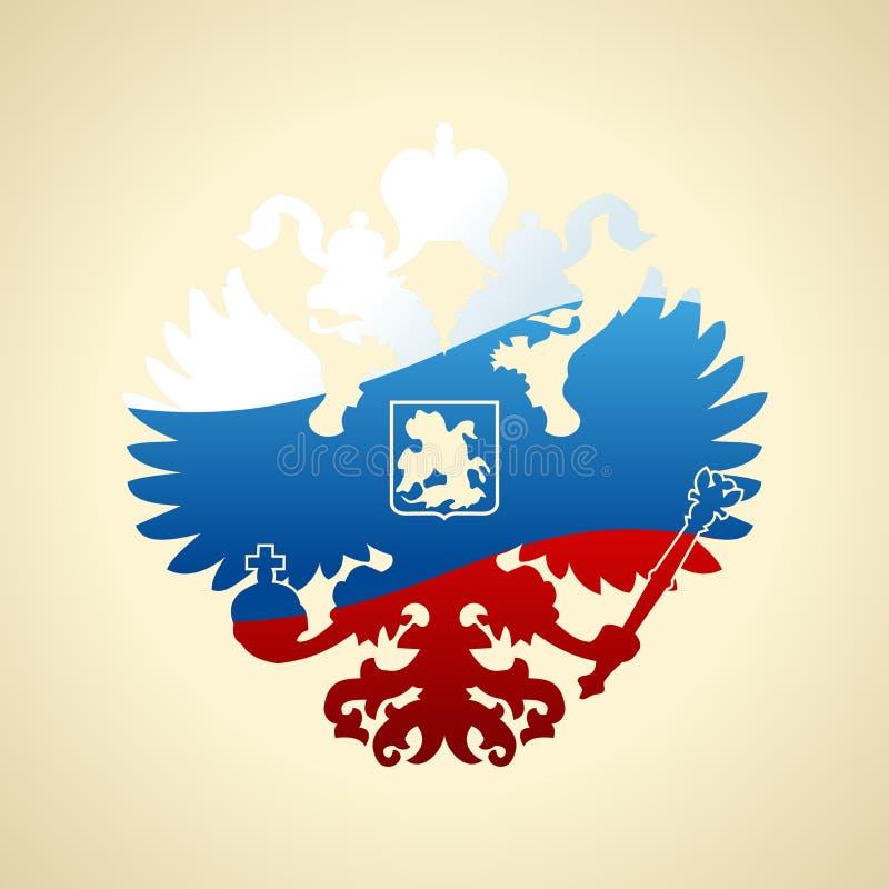 A brasão do russo dobro-dirigiu a águia Símbolo de Rus imperial ilustração do vetor