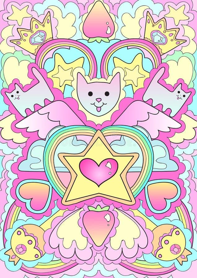 Brasão dos gatos do rei do teste padrão do rosa da lua ilustração stock