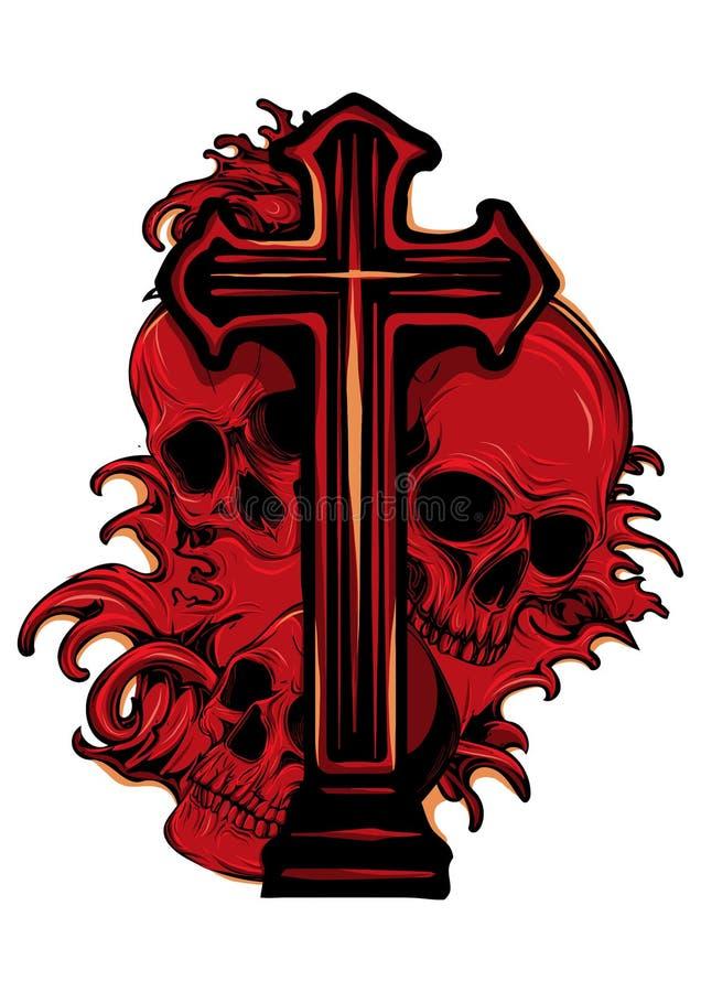 Brasão gótico com o crânio e o rosário, vintage do grunge ilustração stock