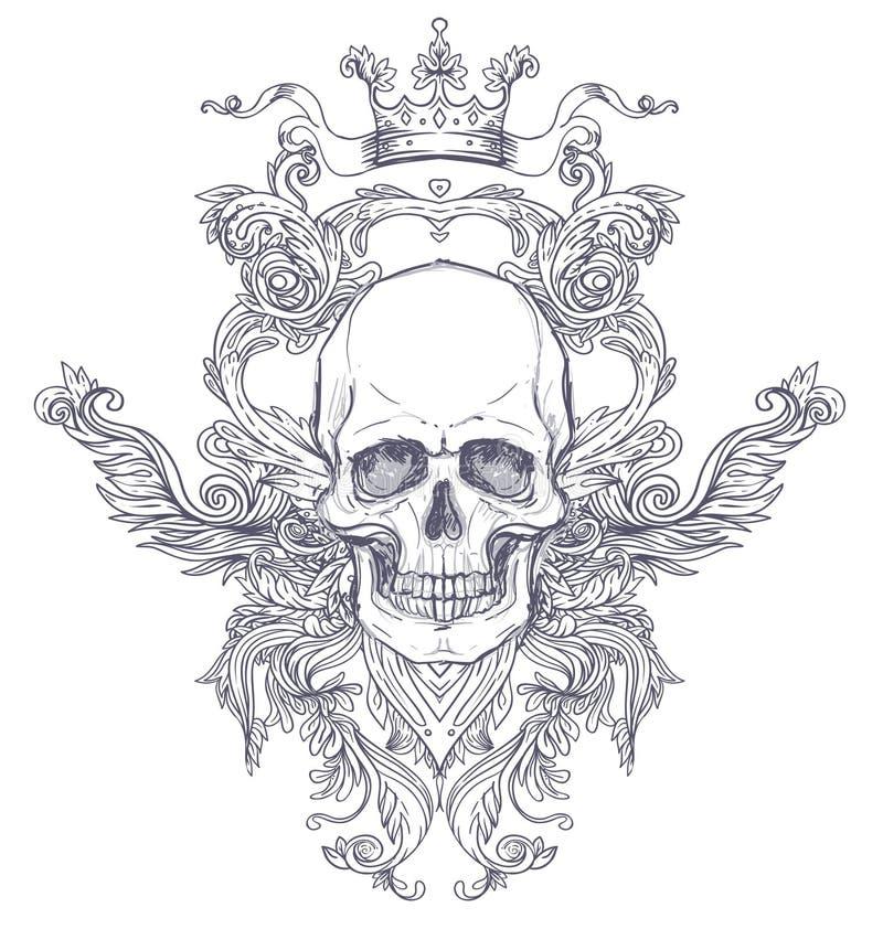 Brasão gótico com o crânio Etiqueta do vintage Desi retro do vetor ilustração stock