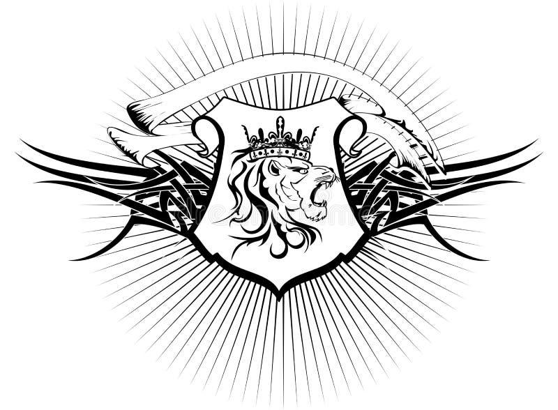 Brasão heráldica tattoo6 da cabeça do leão ilustração royalty free