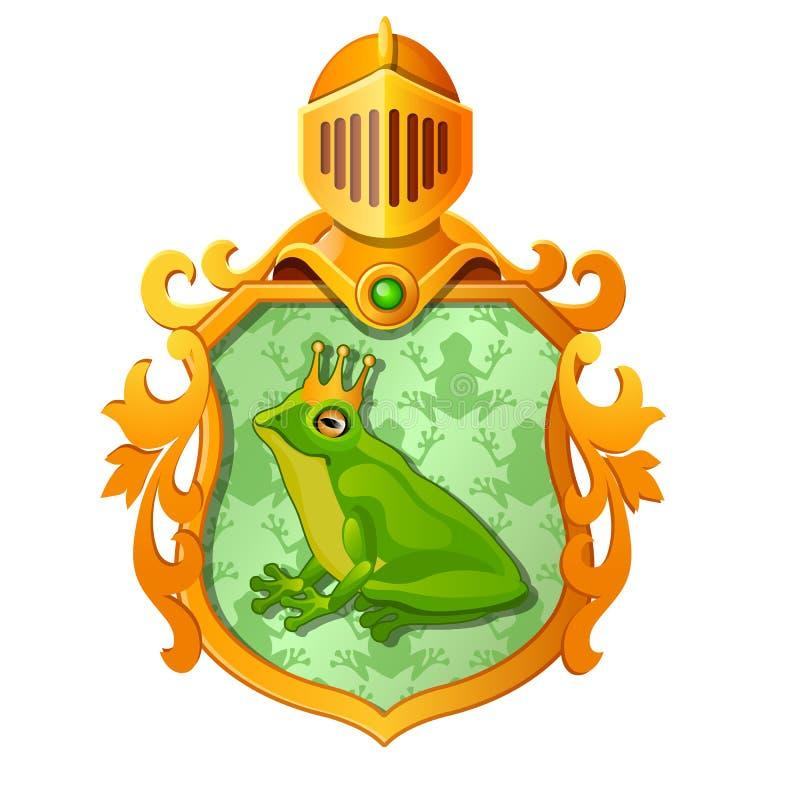 Brasão ou emblema ornamentado dourado com a imagem de uma rã verde na coroa real isolada no fundo branco ilustração do vetor