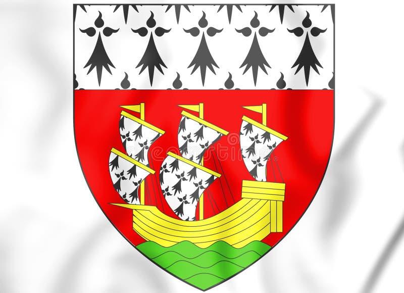 brasão Pays de la Loire de 3D Nantes, França ilustração do vetor