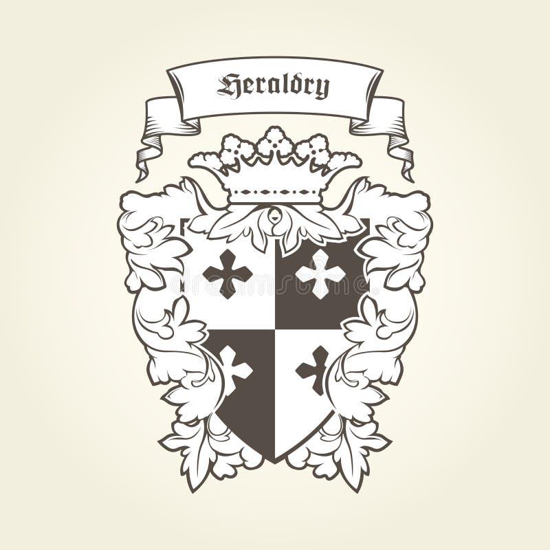 Brasão real heráldica com os símbolos imperiais, protetor, coroa ilustração royalty free