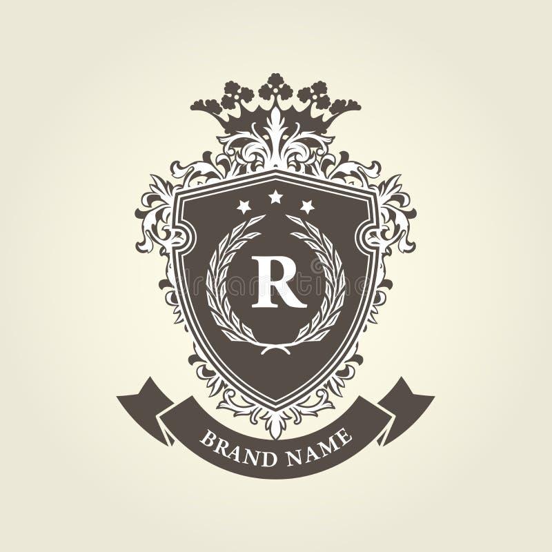 Brasão real medieval - protetor com coroa ilustração royalty free