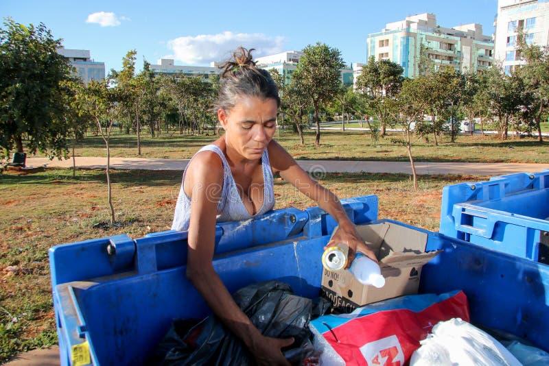 Brasília, D f , Brasil 11 de junho de 2019: Uma senhora pobre que escava através do lixo em uma vizinhança afluente para tentar e imagens de stock