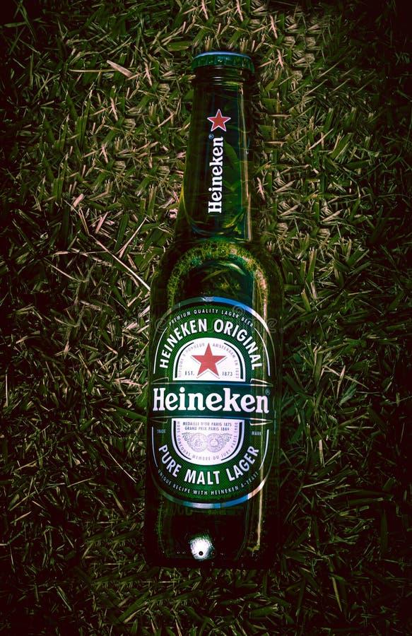 Brasília federalt område - Brasilien Juni 18, 2019 Fotograferade en flaska av Heineken öl på gräsmattan med ljus effekt arkivbilder