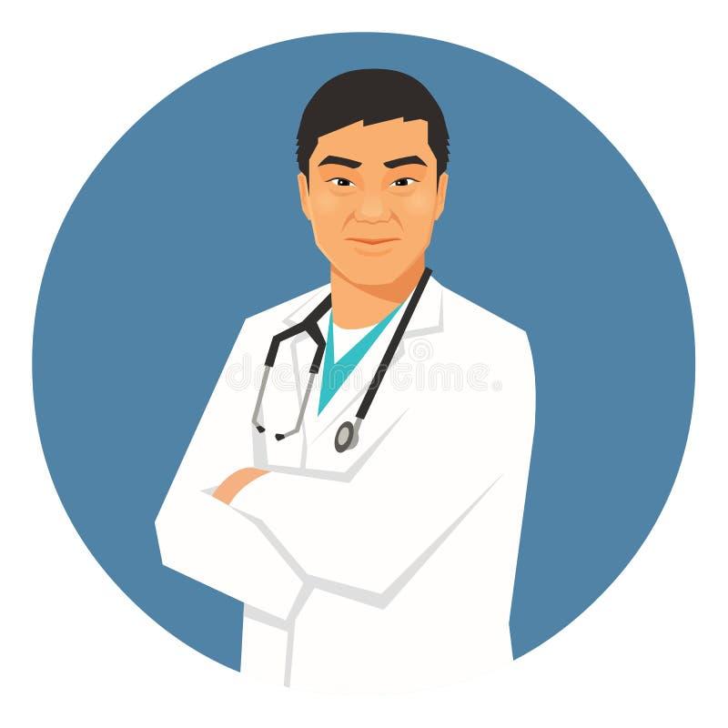 Bras asiatiques masculins de docteur pliés Illustration de vecteur illustration libre de droits