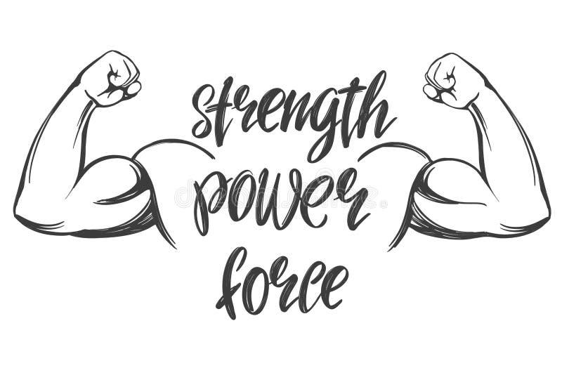 Bras, biceps, croquis tiré par la main d'illustration de vecteur de main d'icône de bande dessinée de symbole calligraphique fort illustration de vecteur
