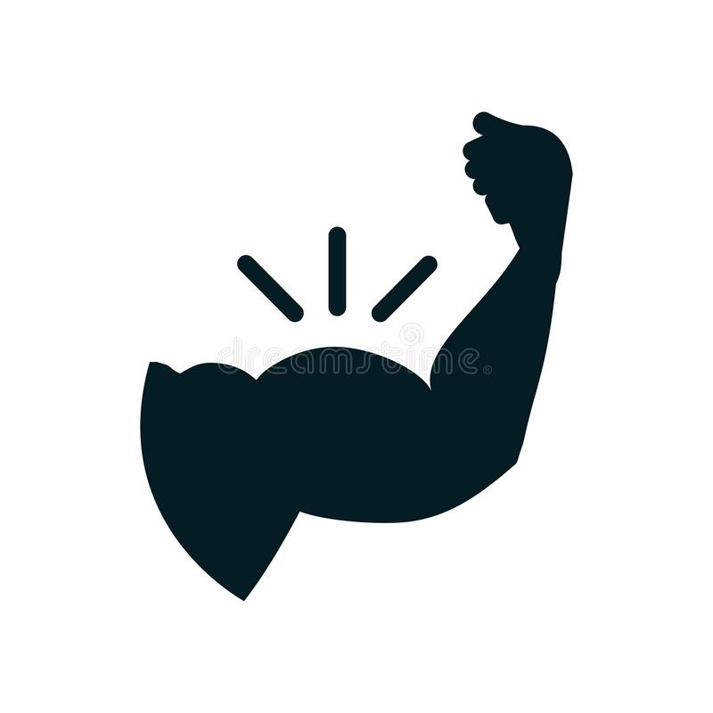 Bras, biceps, icône forte de main - illustration libre de droits