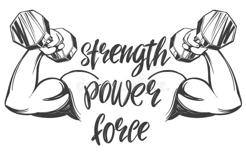 Bras, biceps, main forte tenant une haltère, croquis tiré par la main d'illustration de vecteur de symbole calligraphique des tex illustration stock