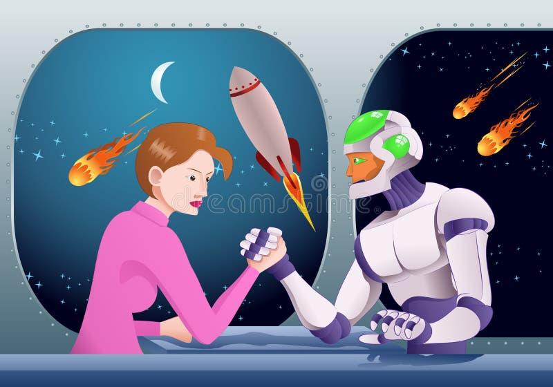 Bras de fer de robot de Droid avec la femme sur la pièce de station spatiale illustration libre de droits