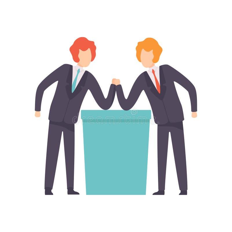 Bras de fer de deux hommes d'affaires, concurrence d'affaires, rivalit? entre les coll?gues, employ?s de bureau contestant le vec illustration libre de droits