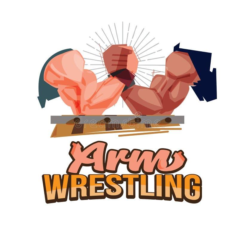 Bras de fer, sport de combat de bras avec le logotype pour la conception d'en-tête - illustration de vecteur illustration stock