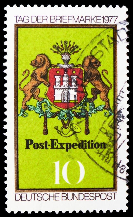 Bras de Hambourg, emblème de courrier, c 1861, serie 1977 de jour de timbre, vers 1977 photo stock