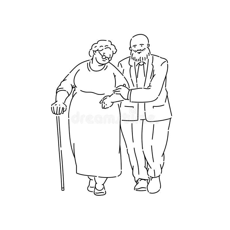 Bras de marche de couples pluss âgé dans illustration d'isolement par croquis blanc noir vecteur de bras de schéma illustration stock