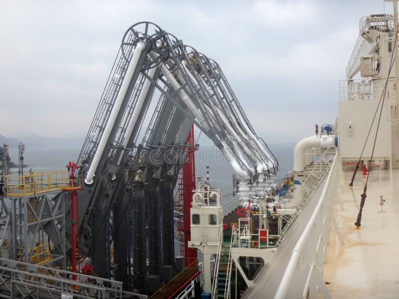 Bras de pression de GNL pour la cargaison de GNL de charge/décharge du bateau-citerne de gaz naturel liquéfié images stock