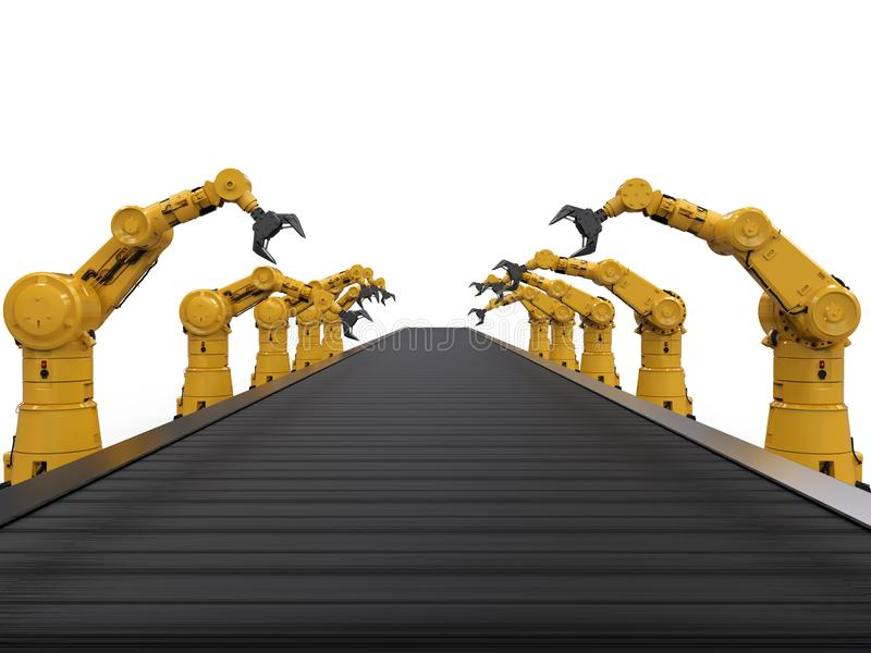 Bras de robot avec la ligne de convoyeur illustration libre de droits