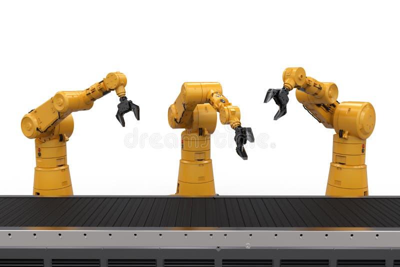 Bras de robot avec la ligne de convoyeur illustration de vecteur