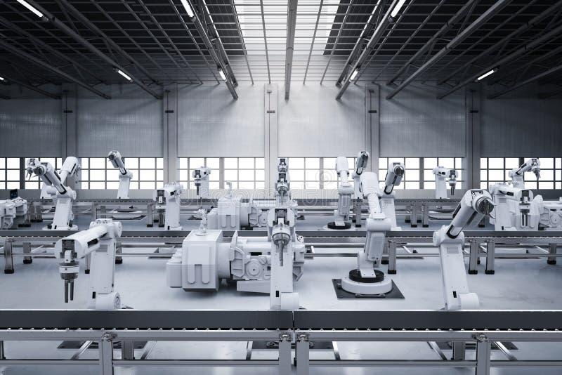 Bras de robot avec la ligne de convoyeur photo libre de droits