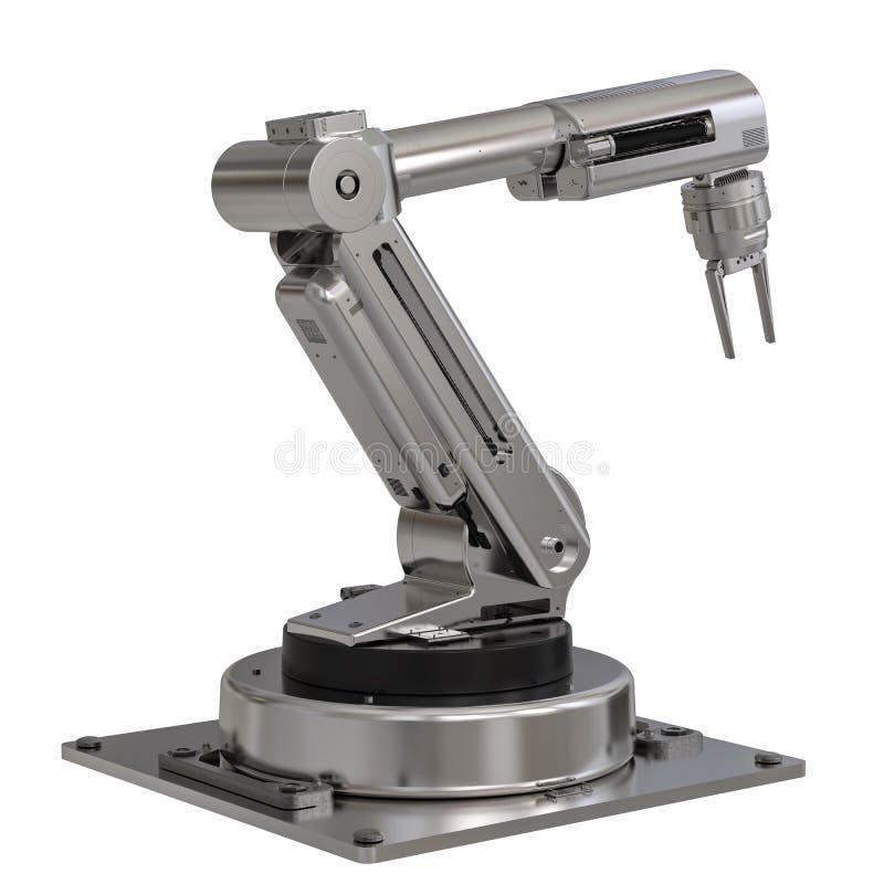 bras de robot en métal sur le fond blanc images libres de droits