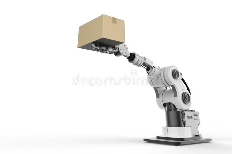 Bras de robot fonctionnant avec la boîte en carton image libre de droits