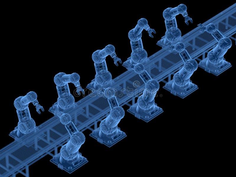 Bras de robot de rayon X avec la ligne de convoyeur illustration libre de droits