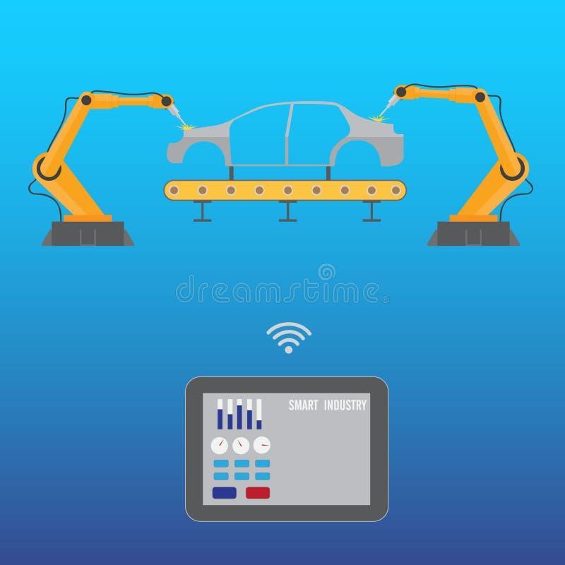 Bras de soudure de robot de contrôles de Tablette illustration stock