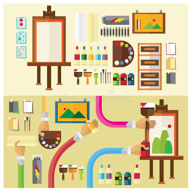 Bras et Han plats d'icône d'illustration d'art de vecteur de studio de peinture réglée de couleur illustration libre de droits