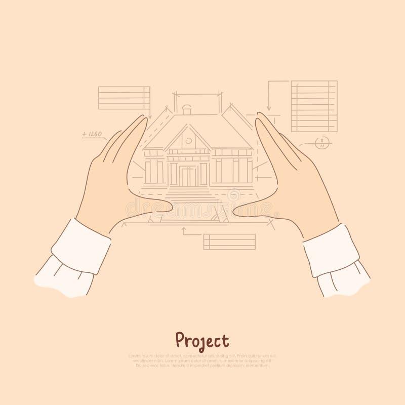 Bras métaphore, maison d'envisagement d'architecte future, mesures de créateur de modèle de bannière de projet de construction illustration libre de droits
