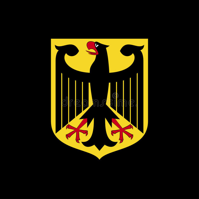 Bras nationaux de l'Allemagne Logo sur un fond noir illustration de vecteur
