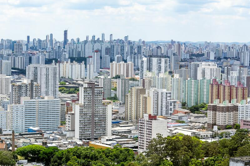 Bras neighborhood, Sao Paulo SP Brazil. Aerial view of Bras neighborhood region of the city of Sao Paulo SP Brazil during the day. View of a big south american royalty free stock photography