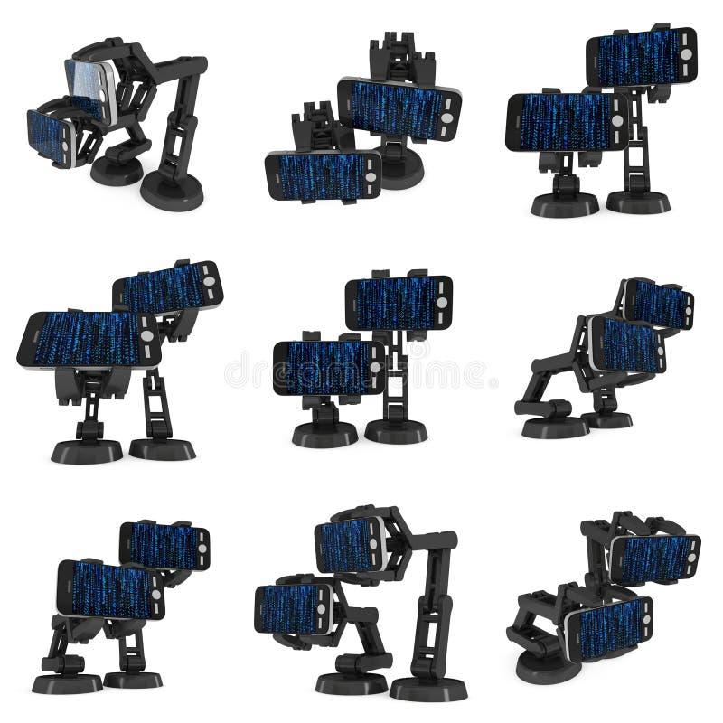 Bras robotique avec le code binaire 3d illustration libre de droits