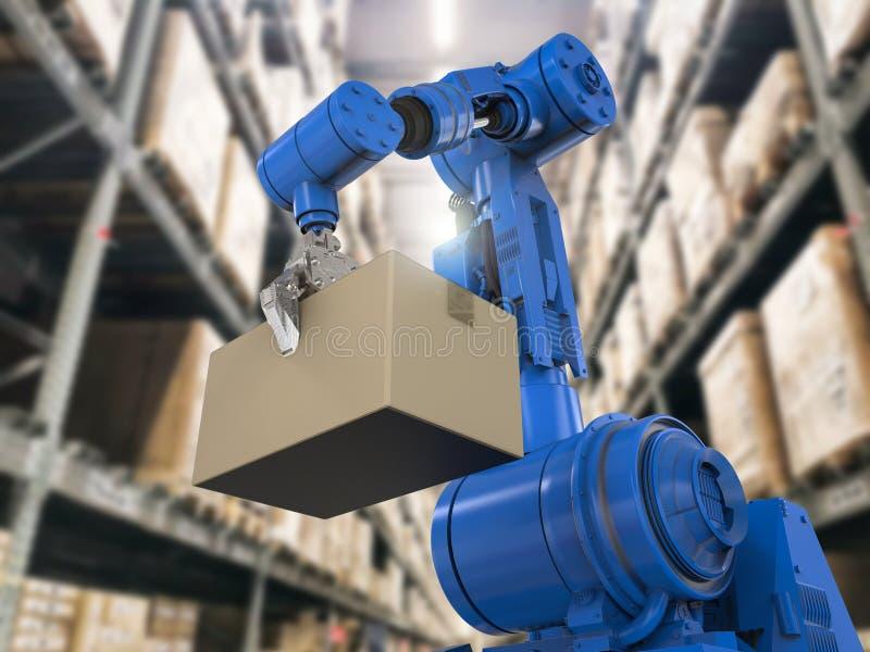 Bras robotique dans l'entrepôt photographie stock