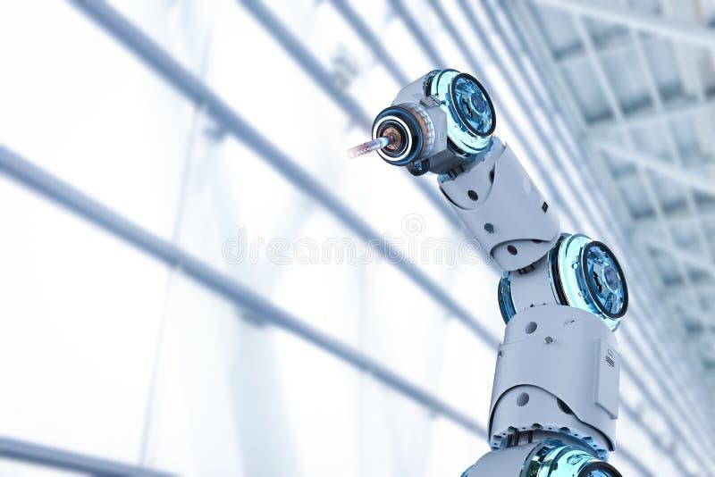 Bras robotique de soudeuse illustration de vecteur