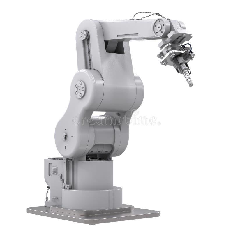 Bras robotique de soudure d'isolement sur le blanc illustration de vecteur