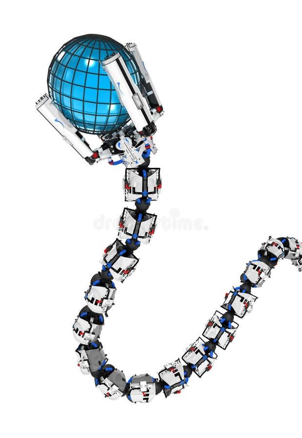 Bras robotique de tentacule, adhérence de globe illustration stock