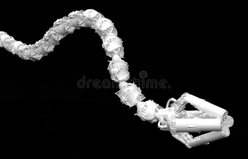 Bras robotique de tentacule, blanc illustration stock