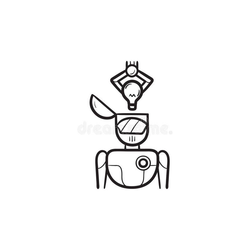 Bras robotique mettant l'ampoule d'idée dans l'icône tirée par la main principale de griffonnage d'ensemble illustration de vecteur